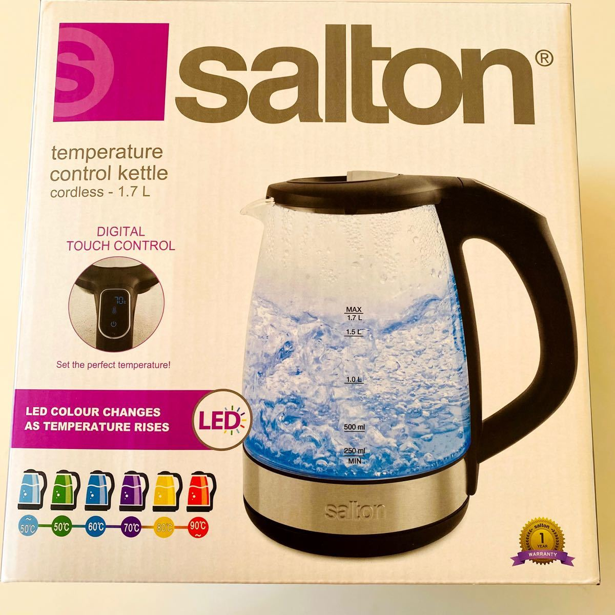 新品!SALTON 電気ケトル 1.7L GK1967 温度コントロール機能付き