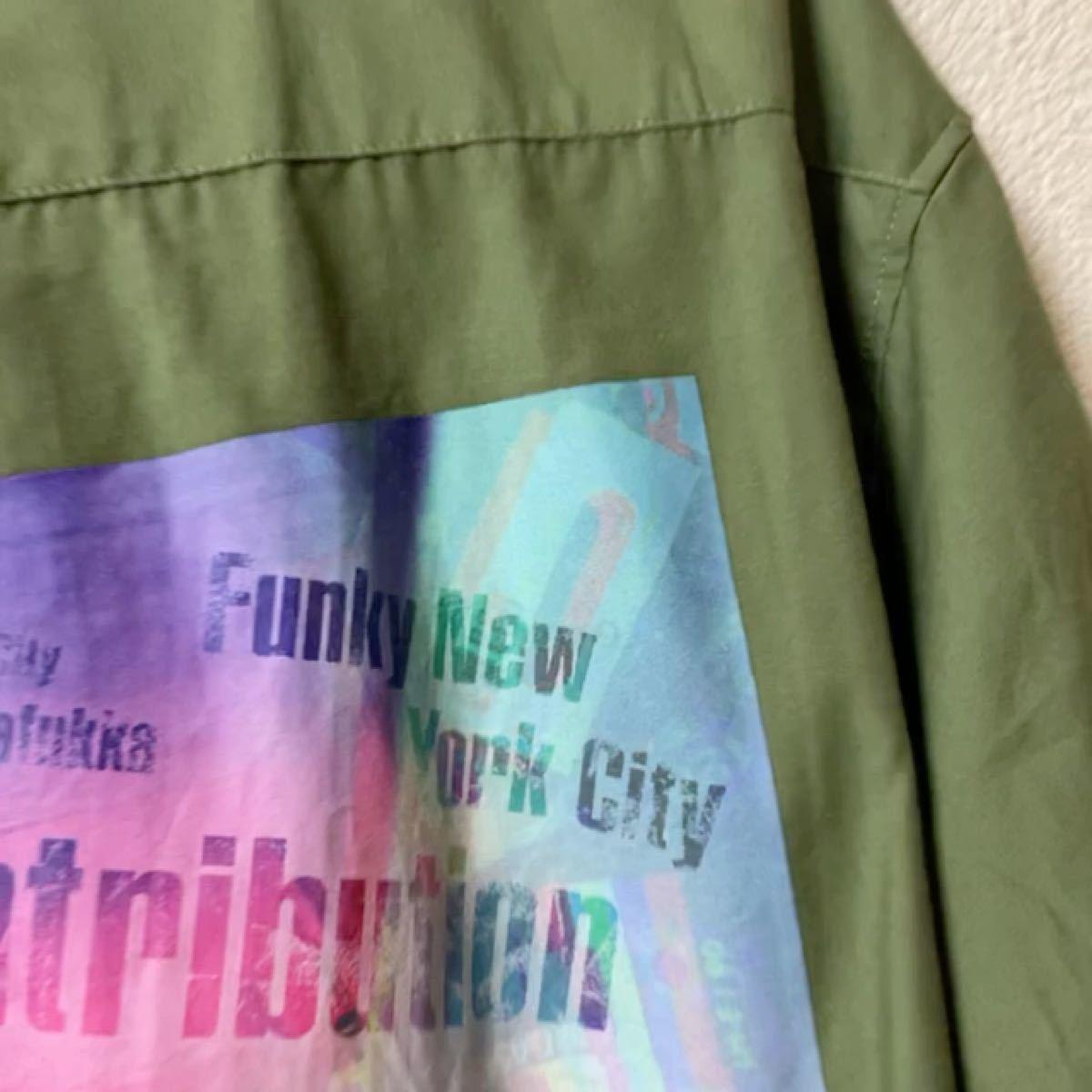 メンズシャツ レディースシャツ ナイラス Nylaus 長袖シャツ メンズ ビッグシルエット プリント ロゴ ロング丈