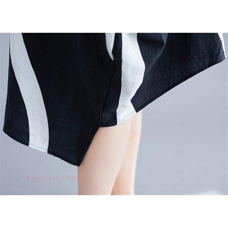 ワンピース夏 ロングワンピース 半袖 体型カバー オシャレ ワンピースレディース夏 ロングワンピース シャツワンピース 前後差 半袖ワ
