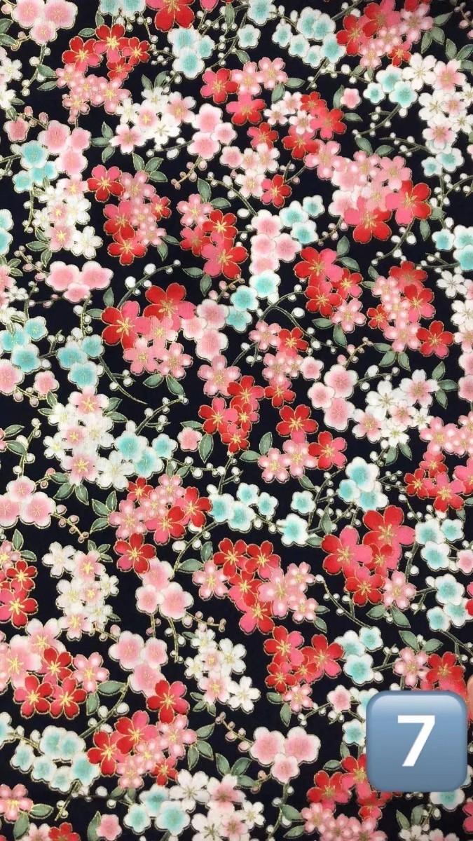 花柄 和柄 生地 金 金糸プリント ハギレ レア