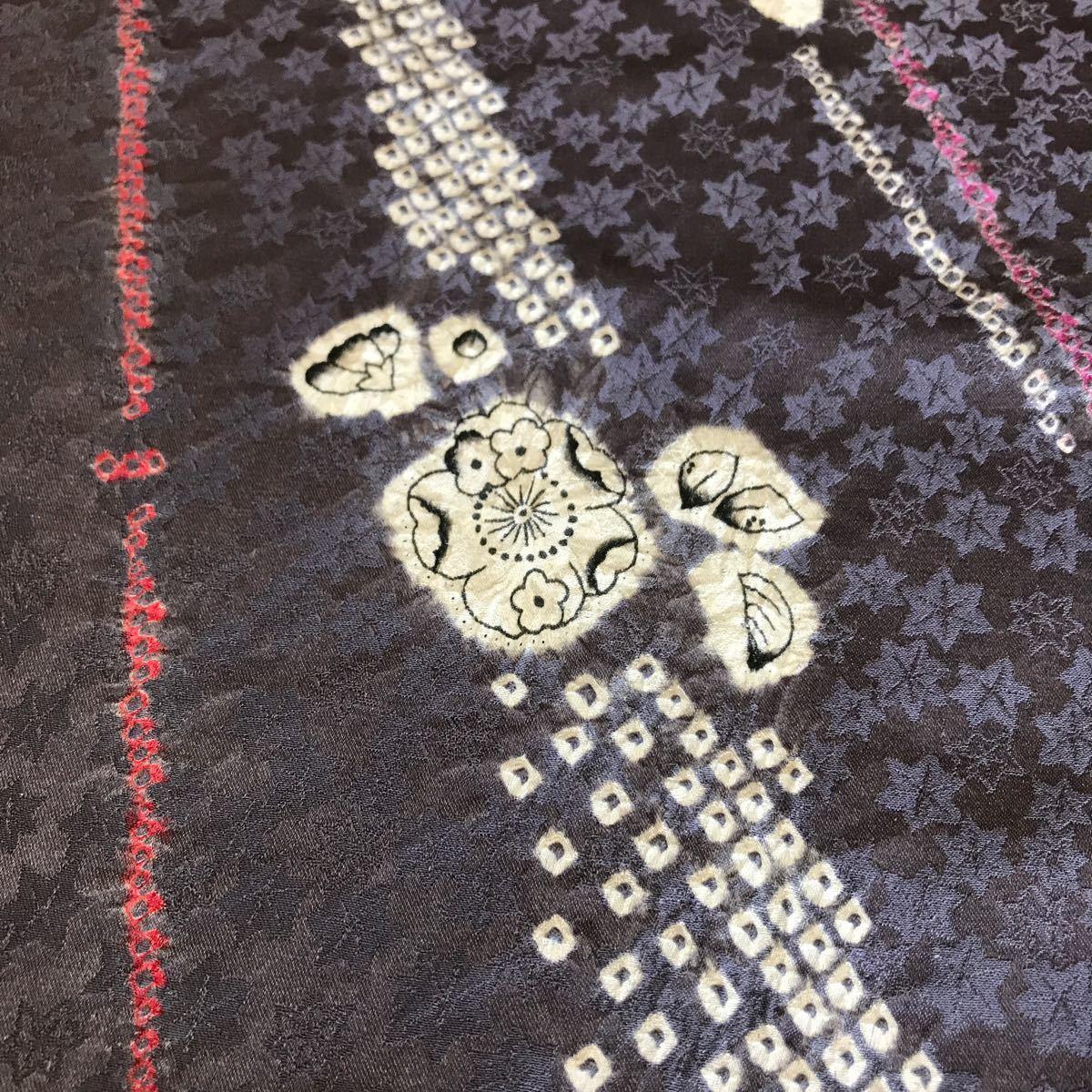 ★着物ハギレ 辻が花幾何学部分絞り 紫半身頃★ 4 リメイク 着物リメイク アンティーク