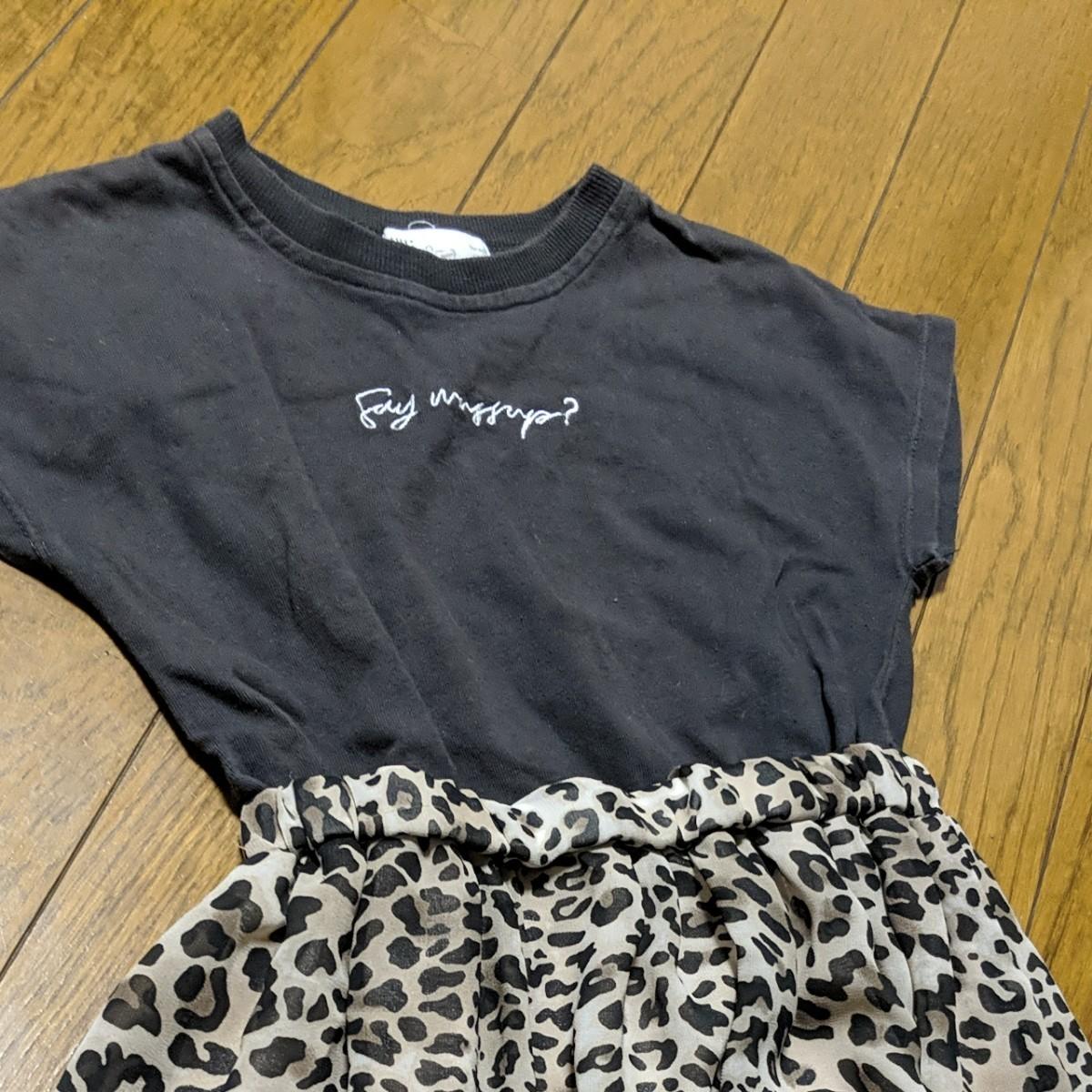 半袖ワンピース豹柄ヒョウ柄 サマーワンピースグレー&ヒョウ柄サイズ120