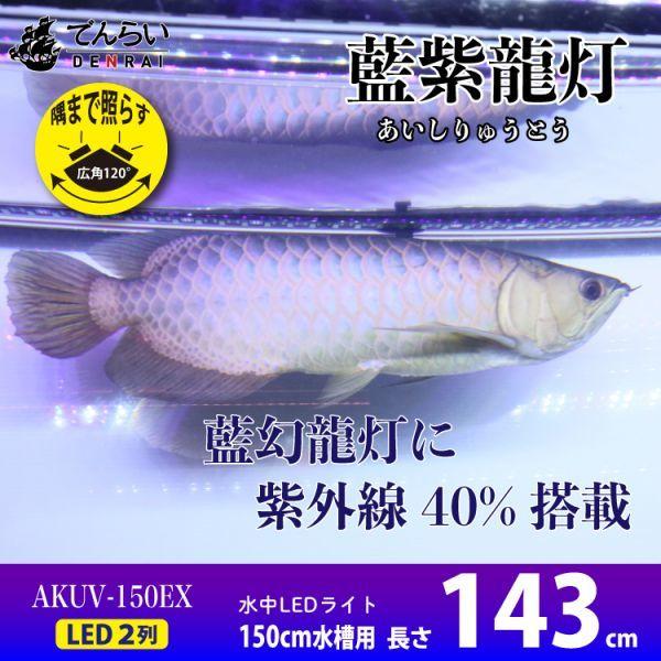 藍紫龍灯 アロワナ LED 2列 UV 紫外線40% ライト 色あせ 色揚げ 大型水槽 水中照明 アクアリウム 藍底 金龍 150cm水槽用 AKUV-150EX_画像1