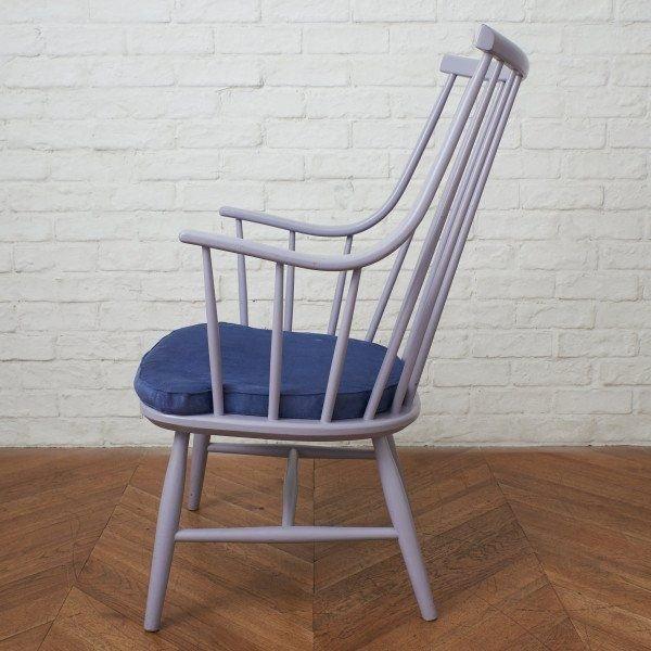 IZ46039F○スウェーデン Nassjo Stolefabrik チェア 北欧 ヴィンテージ ウィンザー アームチェア Lena Larsson ペイント 椅子 イス Nesto_画像2