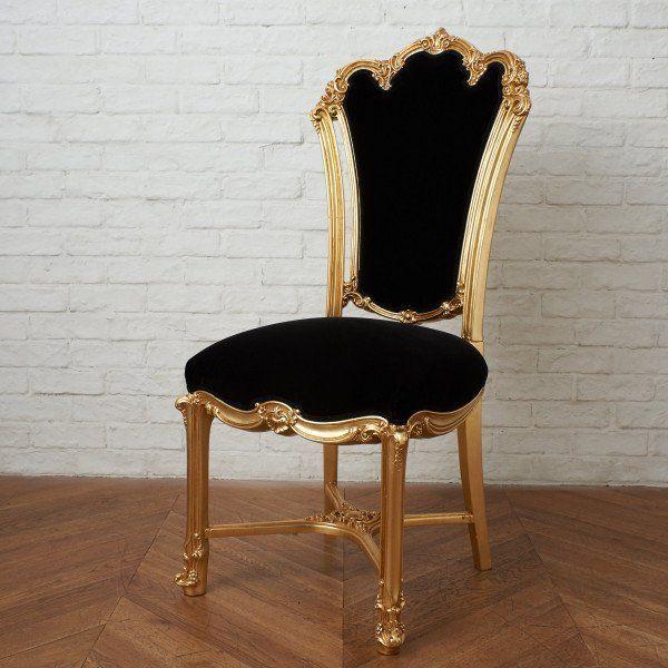 IZ45963I○張替済 37万 SILIK apollonia チェア イタリア シリック 最高峰 ロココ 様式 ゴールド ペイント 姫家具 椅子 ダイニングチェア_画像1