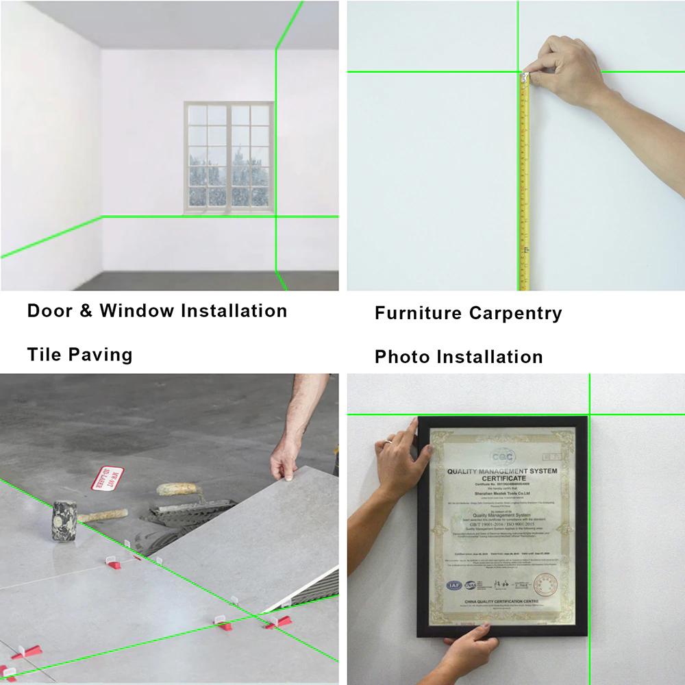 《最安新品》デジタル測定器 レーザーレベル MESTEK 緑 クロスライン 防水 ポータブル 水平 垂直 ホームツール プロ仕様_画像3