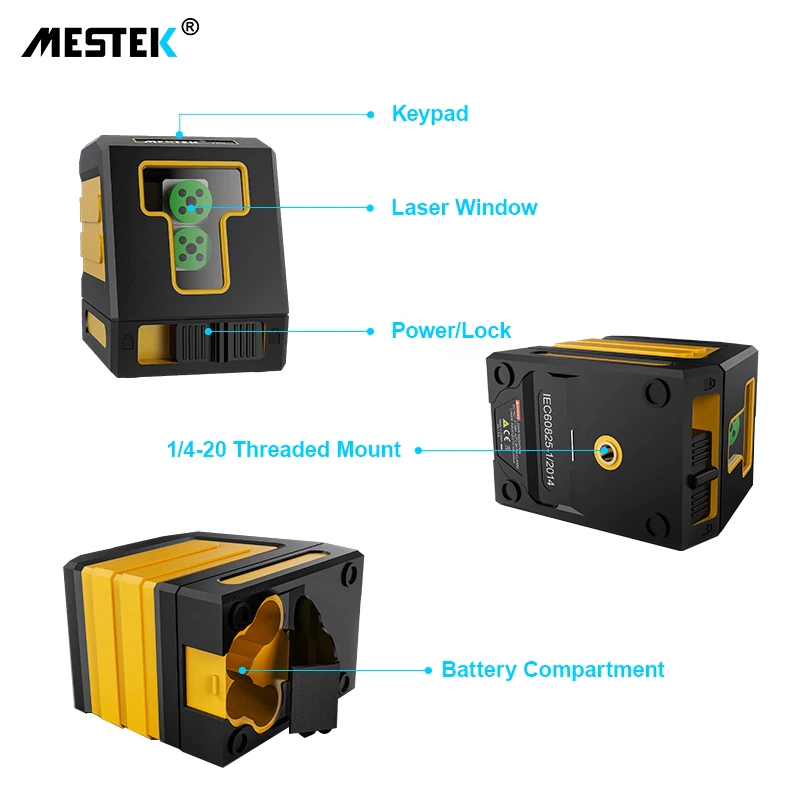《最安新品》デジタル測定器 レーザーレベル MESTEK 緑 クロスライン 防水 ポータブル 水平 垂直 ホームツール プロ仕様_画像8