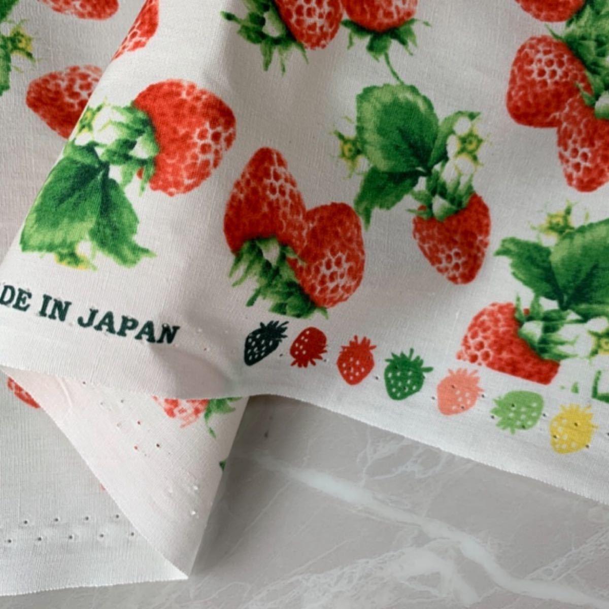リアルプリント ストロベリー いちご柄   ホワイト   ハギレ 108×200 ブロード コットン
