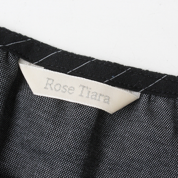 大きいサイズ Rose Tiara ローズティアラ コットン ストライプ フレア ワンピース 42/ブラック【2400012177338】_画像8