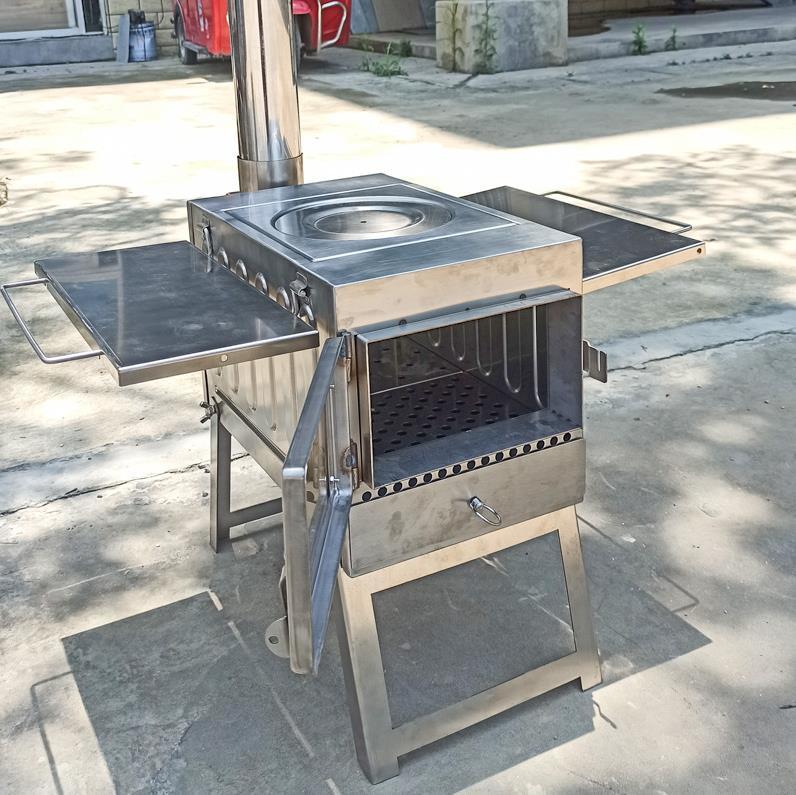新入荷 軽型 304ステンレス 鋼屋外薪ストーブ 携帯用 ピクニック装備 バーベキュー多機能無煙折畳かまど 野たきストーブ ビジュアルグラス