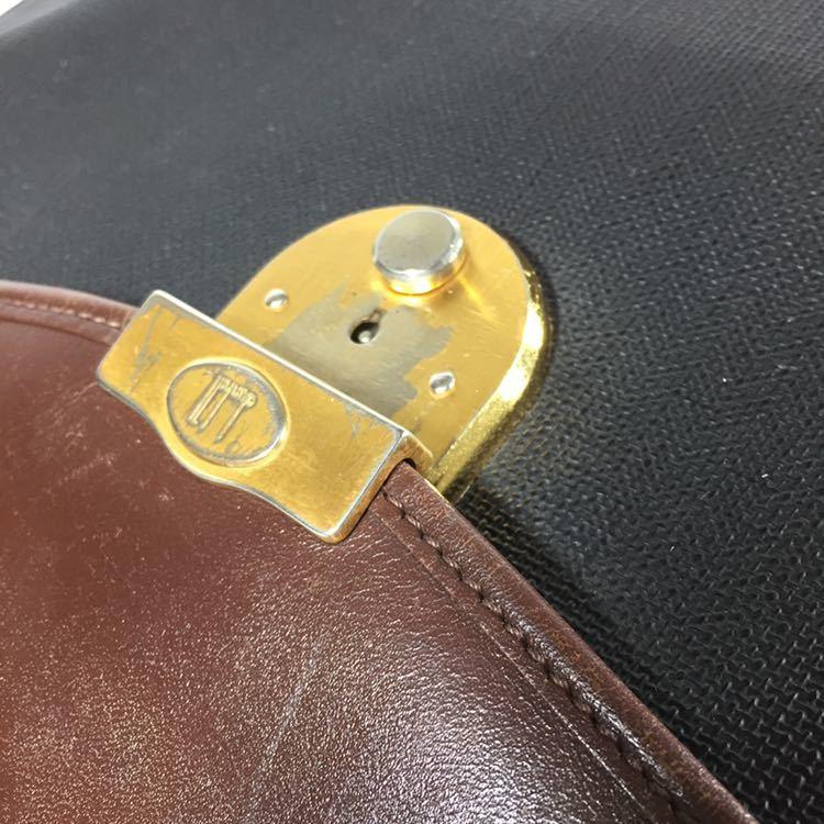 【ダンヒル】本物 dunhill ビジネスバッグ 書類かばん ロゴ金具 ブリーフケース レザー×PVC 男性用 メンズ イタリア製_画像5