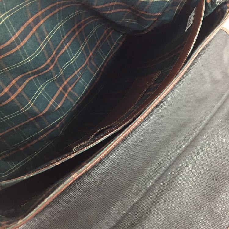 【ダンヒル】本物 dunhill ビジネスバッグ 書類かばん ロゴ金具 ブリーフケース レザー×PVC 男性用 メンズ イタリア製_画像8