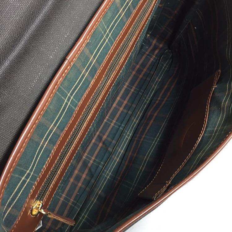 【ダンヒル】本物 dunhill ビジネスバッグ ロゴ金具 ブリーフケース 書類かばん レザー×PVC 男性用 メンズ イタリア製_画像9