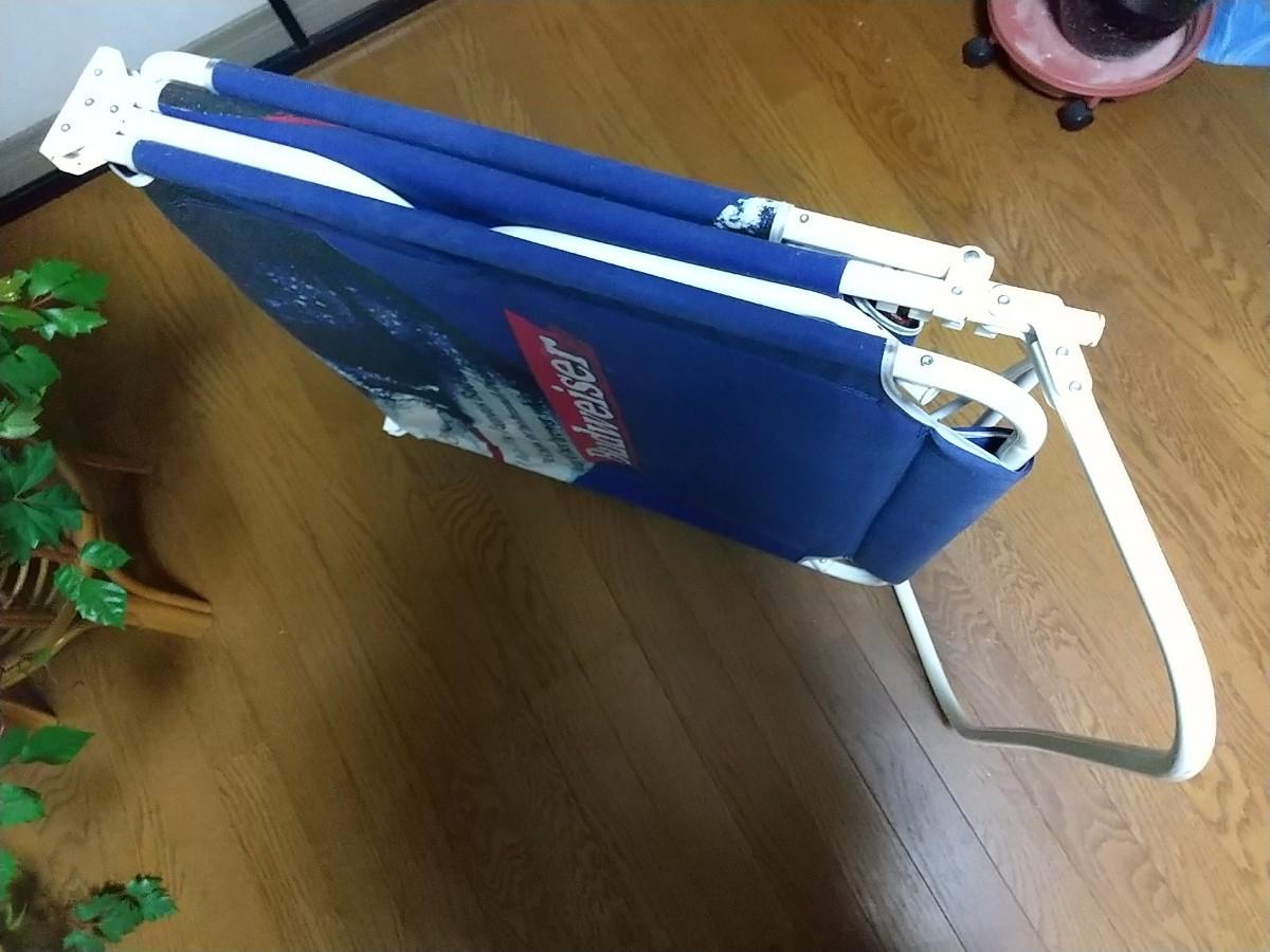 Budweiser バドワイザー ブルー リクライニング 椅子 サマーベッド サマーチェア 折り畳み式 海 ビーチ 日焼け