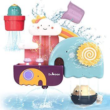 GILOBABY お風呂 おもちゃ 水遊び玩具 シャワーカップ 噴水おもちゃ 知育玩具 かわいい形 安全素材 強力な吸盤付き 赤_画像1