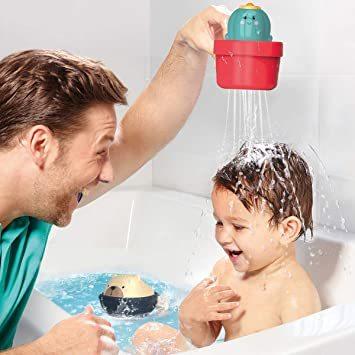 GILOBABY お風呂 おもちゃ 水遊び玩具 シャワーカップ 噴水おもちゃ 知育玩具 かわいい形 安全素材 強力な吸盤付き 赤_画像2