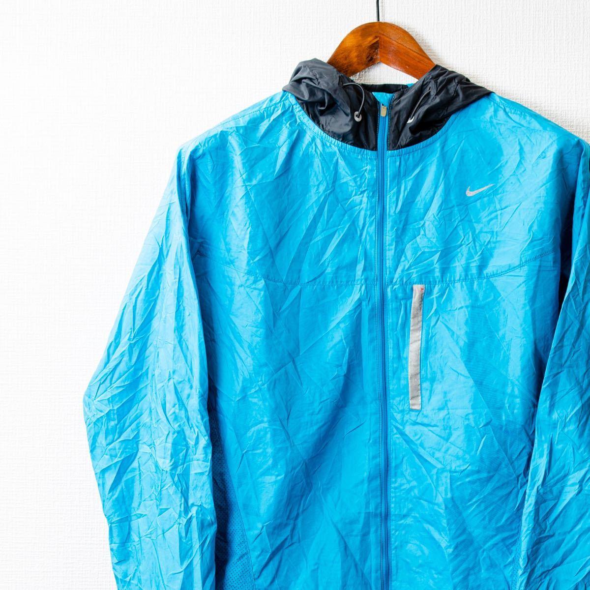 ナイキ 薄手ナイロンジャケット 背中側メッシュ XL ブルー フード付き
