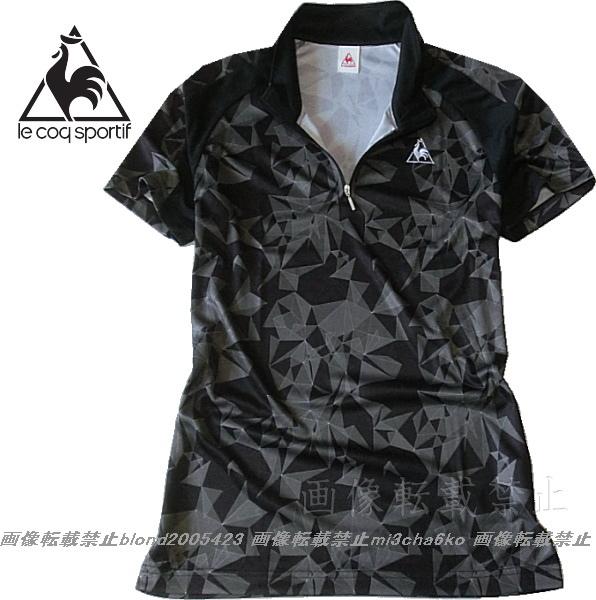 ■新品【le coq】ルコック左胸刺繍ロゴSWEAT ABSORPTION-DRY高機能ハーフZIPポロ■BK/O(XL)_画像2