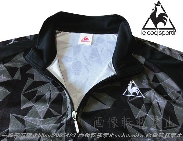 ■新品【le coq】ルコック左胸刺繍ロゴSWEAT ABSORPTION-DRY高機能ハーフZIPポロ■BK/O(XL)_画像1