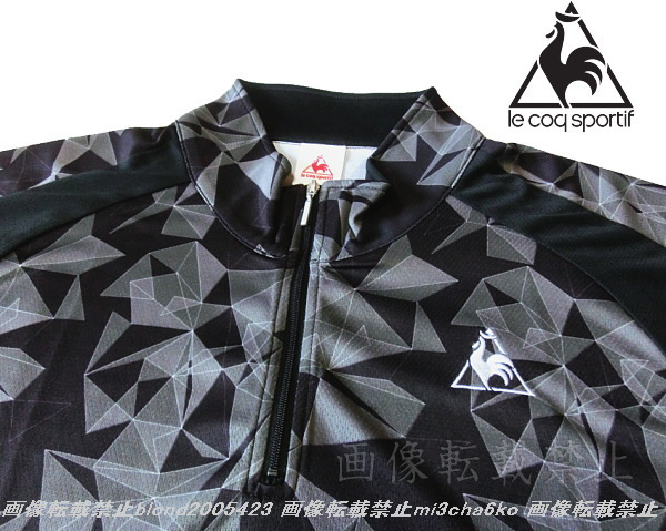 ■新品【le coq】ルコック左胸刺繍ロゴSWEAT ABSORPTION-DRY高機能ハーフZIPポロ■BK/O(XL)_画像3