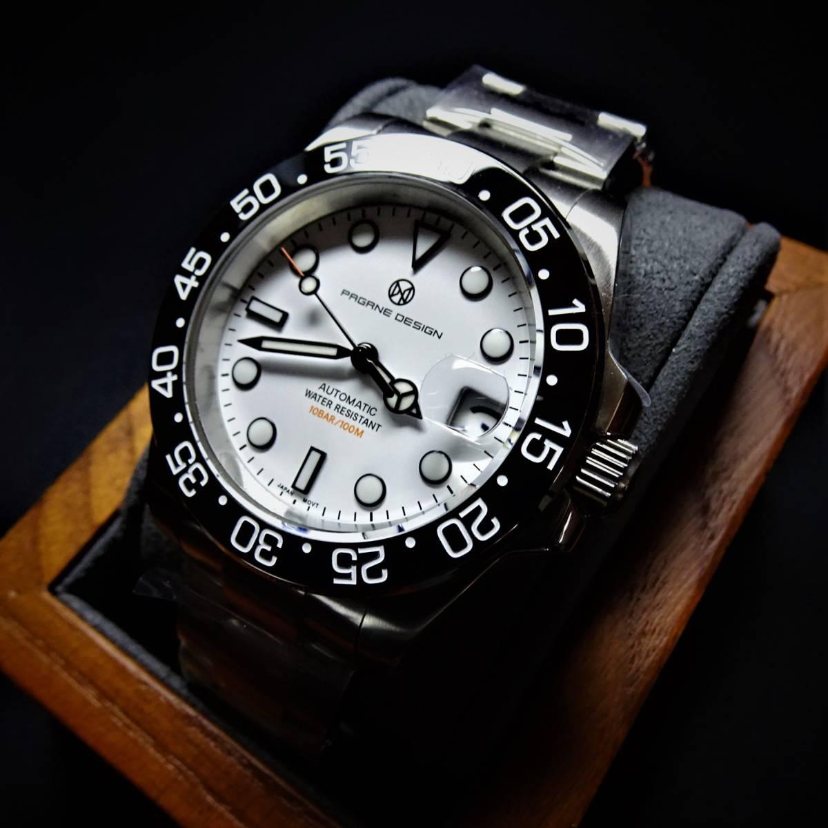 新品〓自動巻きセイコー製NH35搭載機械式腕時計サブダイバーPAGANI DESIGNブランドステンレスケース〓サファイアガラス〓ホワイト文字盤