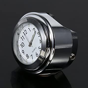 オートバイ用 アナログ時計 簡単取り付け 夜行式 夜光 防水 ハンドルバー ダイヤル時計 ホワイト 22mm~25mm 7/8~_画像4