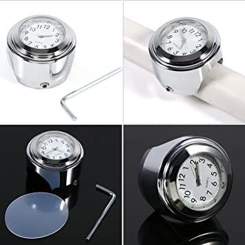 オートバイ用 アナログ時計 簡単取り付け 夜行式 夜光 防水 ハンドルバー ダイヤル時計 ホワイト 22mm~25mm 7/8~_画像3