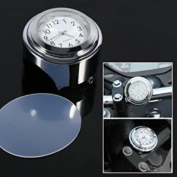 オートバイ用 アナログ時計 簡単取り付け 夜行式 夜光 防水 ハンドルバー ダイヤル時計 ホワイト 22mm~25mm 7/8~_画像2