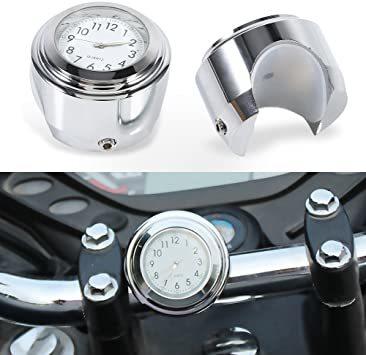 オートバイ用 アナログ時計 簡単取り付け 夜行式 夜光 防水 ハンドルバー ダイヤル時計 ホワイト 22mm~25mm 7/8~_画像1