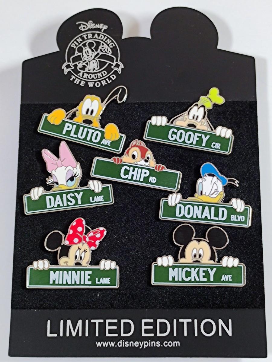 海外限定 ディズニー プルート グフィー チップ デイジー ドナルド ミッキー ミニー ピンバッジ 名札 7点セット