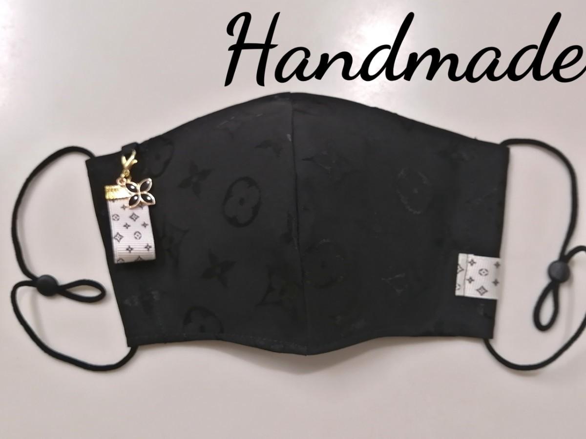 立体インナー ノーブランドモノグラム柄 ハンドメイド ホワイトチャーム付き ブラック