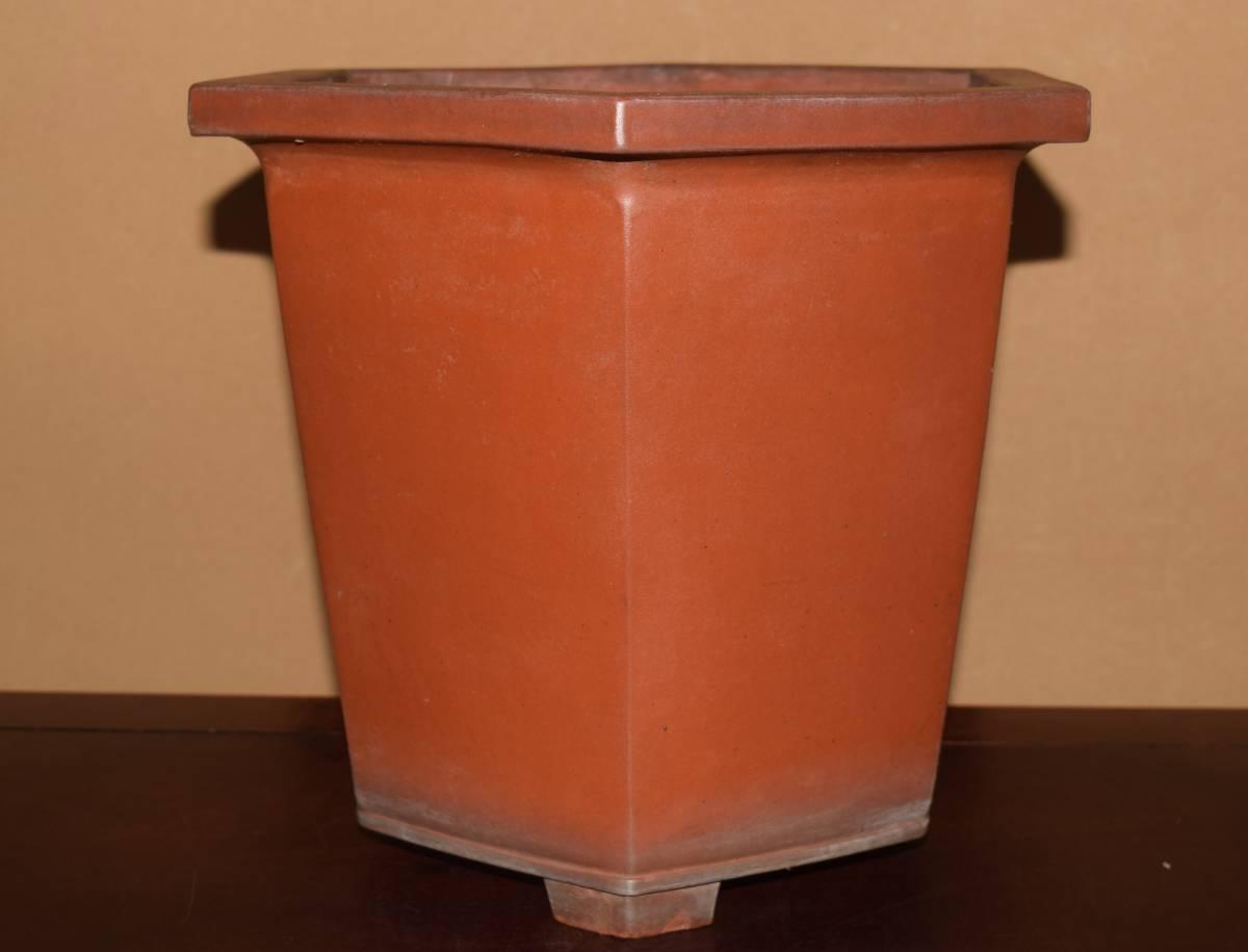中国古盆器<清代・朱泥・時代乗り満点・泥味・実用性抜群>外縁下方六角鉢・間口33,6cm
