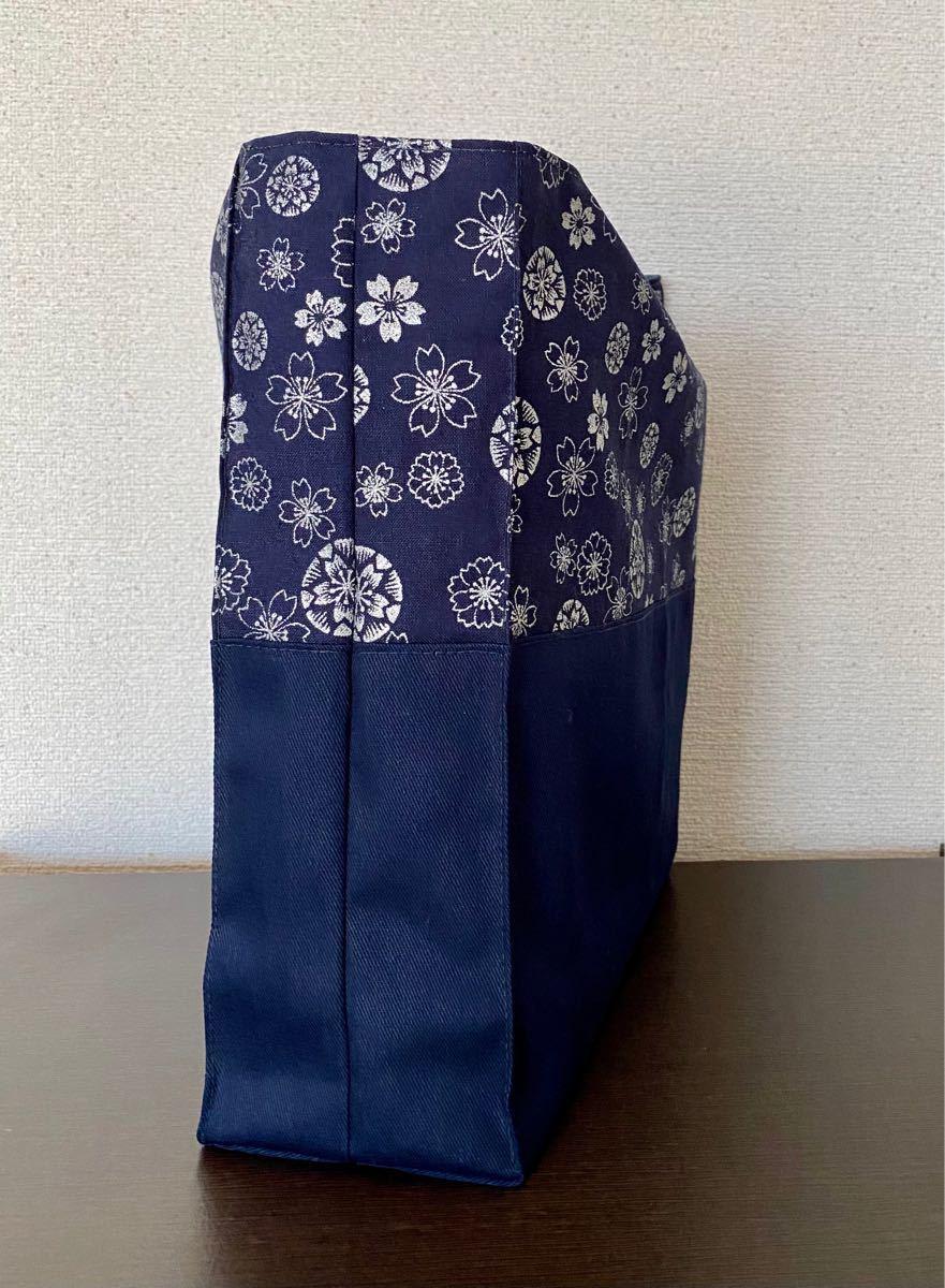 トートバッグ エコバッグ サブバッグ ハンドメイド 裏地つき 花紋様