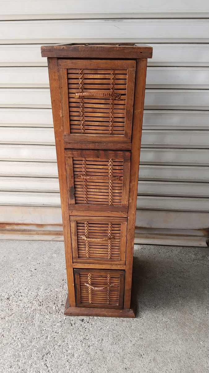 旧家買い取り品 収納箱 小引き出し 編み物 竹製 木製 昭和レトロ アンティーク 古い 収納棚 小物入れ _画像1