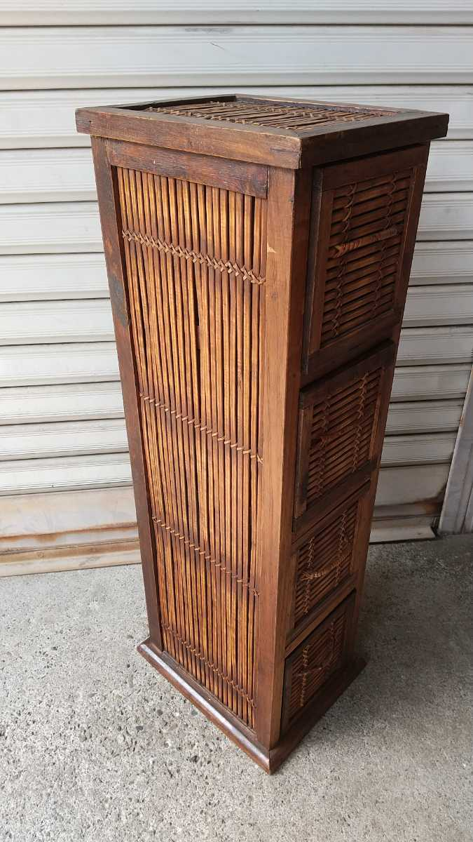 旧家買い取り品 収納箱 小引き出し 編み物 竹製 木製 昭和レトロ アンティーク 古い 収納棚 小物入れ _画像2