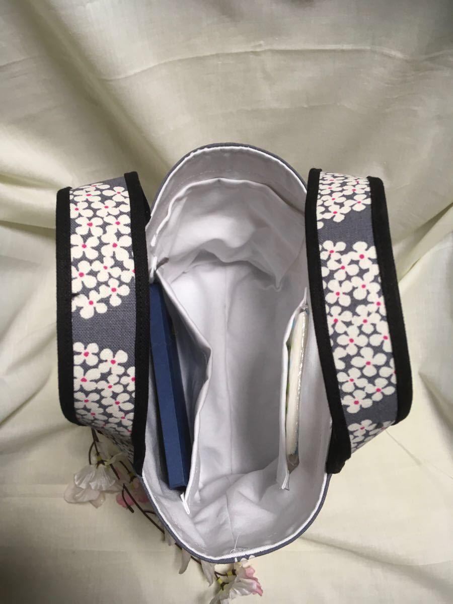ランチバッグ(トートバッグ)・ポーチのセット(Gあじさい)・マイボトルを持って ハンドメイド ミニトートバッグ