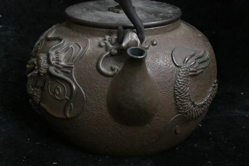 鉄製 龍紋 鉄瓶 急須 在銘_画像3
