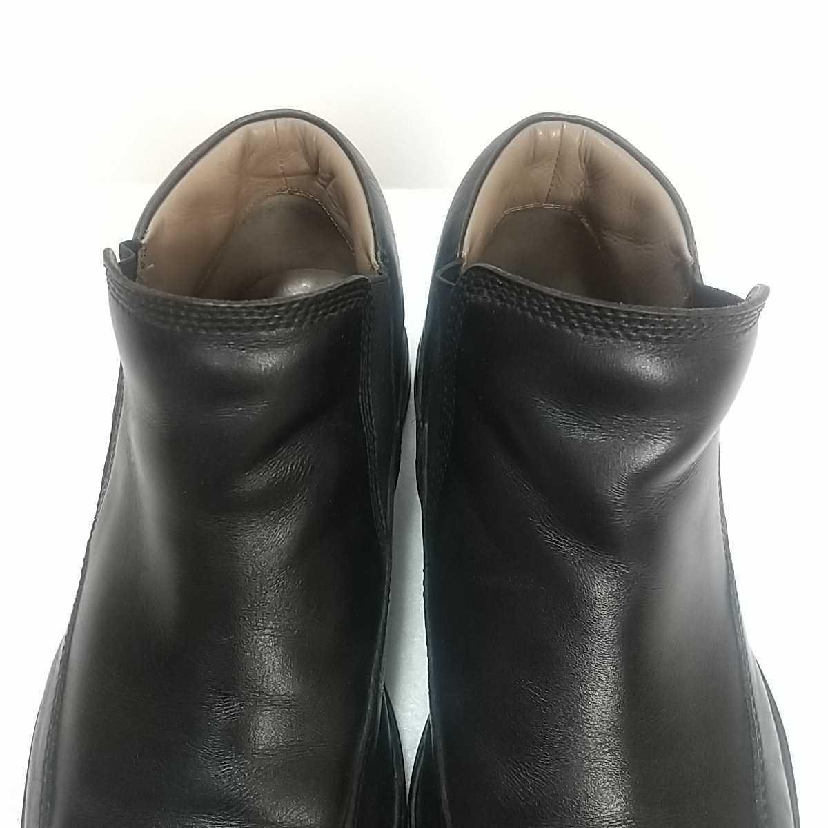 Clarks クラークス レザー サイドゴアブーツ ショート UK9 27.5cm 黒 ブラック 革靴 _画像3