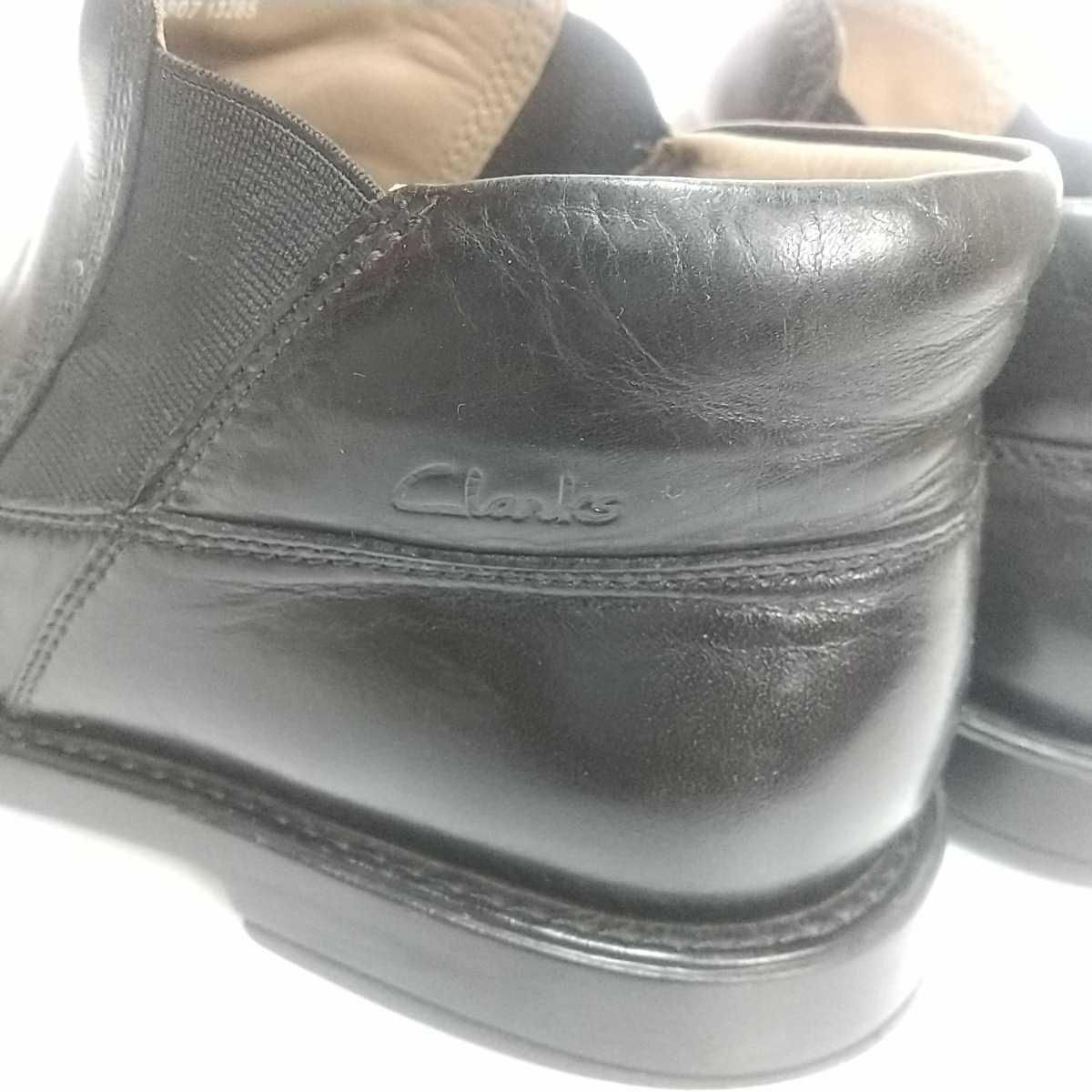 Clarks クラークス レザー サイドゴアブーツ ショート UK9 27.5cm 黒 ブラック 革靴 _画像10