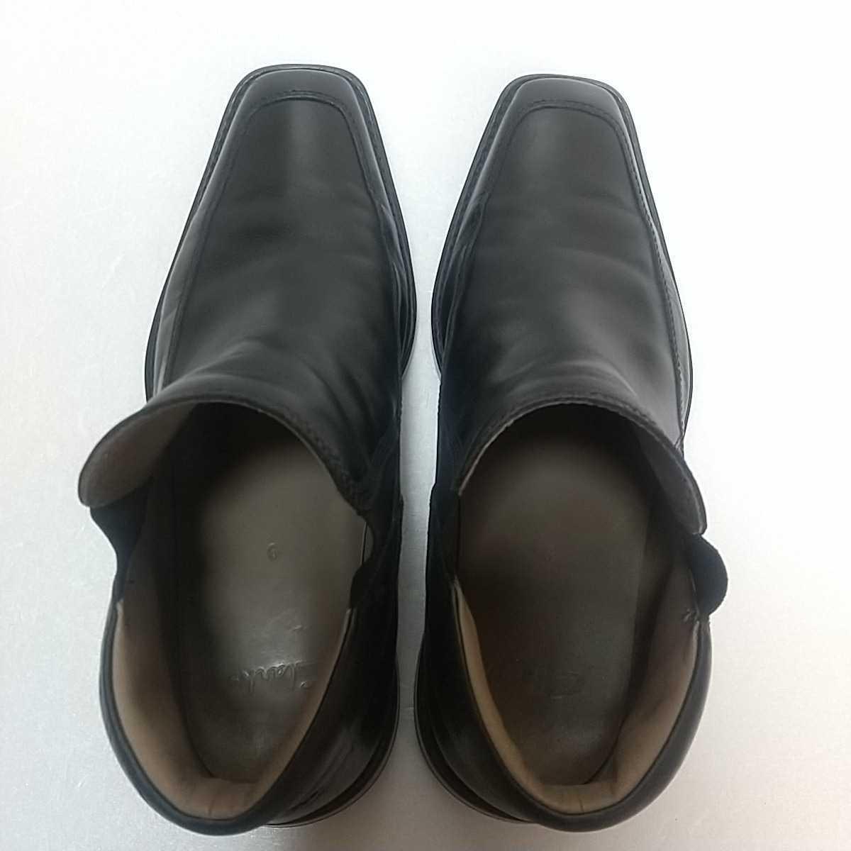 Clarks クラークス レザー サイドゴアブーツ ショート UK9 27.5cm 黒 ブラック 革靴 _画像5
