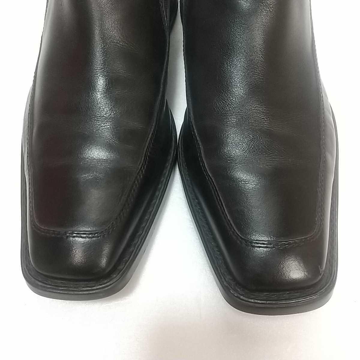 Clarks クラークス レザー サイドゴアブーツ ショート UK9 27.5cm 黒 ブラック 革靴 _画像2