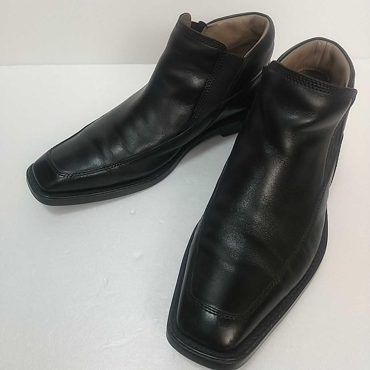 Clarks クラークス レザー サイドゴアブーツ ショート UK9 27.5cm 黒 ブラック 革靴 _画像1