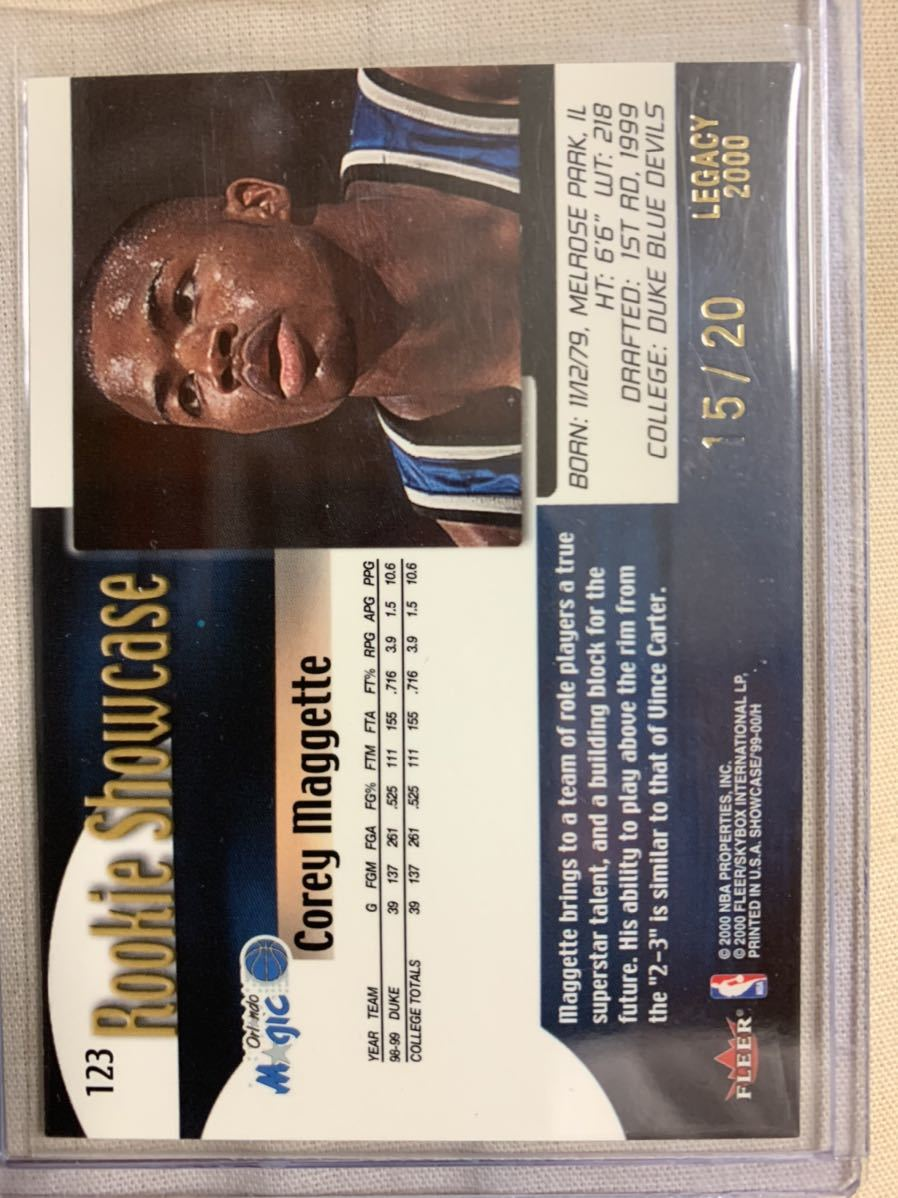 1999-00 Flair Showcase Legacy Collection #123 Corey Maggette 15/20_画像2
