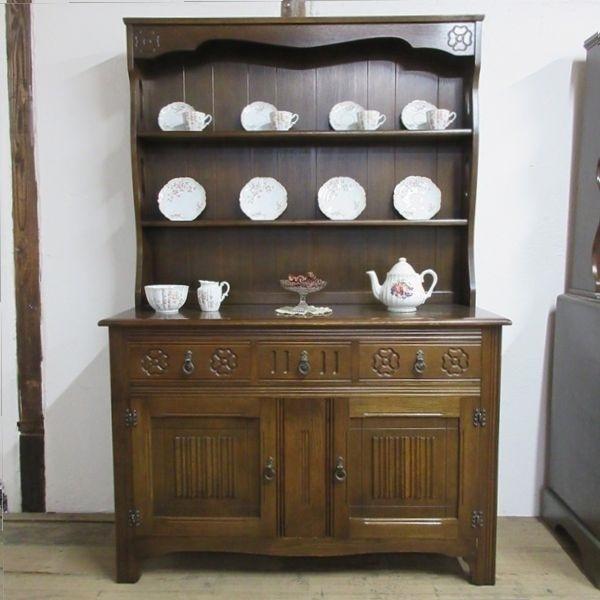 イギリス アンティーク 家具 ドレッサー カップボード キャビネット 飾り棚 食器棚 木製 オーク 収納 英国 COPBOARD 6730b_画像1