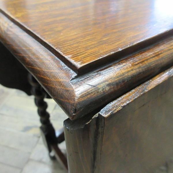 イギリス アンティーク 家具 ダイニングテーブル バタフライ ゲートレッグテーブル ツイストレッグ 木製 オーク 英国 TABLE 6773b_画像7