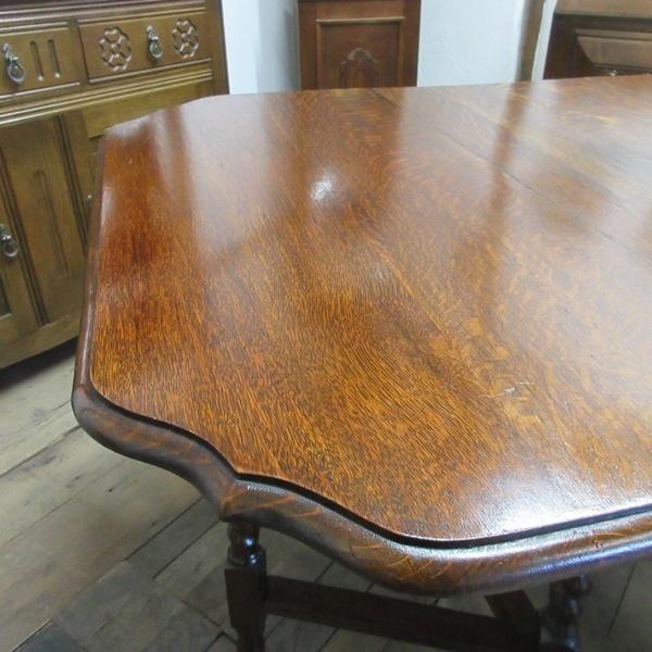 イギリス アンティーク 家具 ダイニングテーブル バタフライ ゲートレッグテーブル ツイストレッグ 木製 オーク 英国 TABLE 6773b_画像8