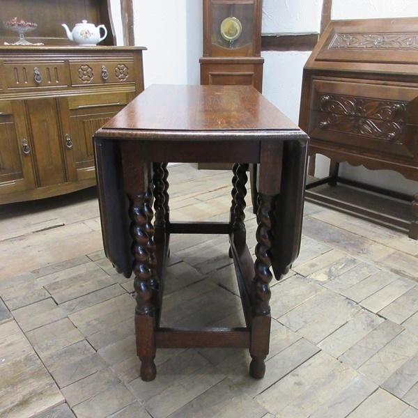 イギリス アンティーク 家具 ダイニングテーブル バタフライ ゲートレッグテーブル ツイストレッグ 木製 オーク 英国 TABLE 6773b_画像6