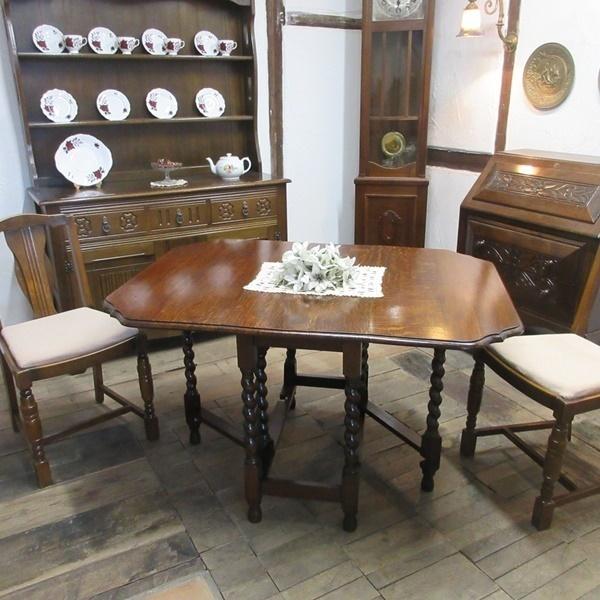 イギリス アンティーク 家具 ダイニングテーブル バタフライ ゲートレッグテーブル ツイストレッグ 木製 オーク 英国 TABLE 6773b_画像1