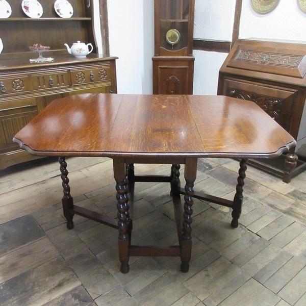 イギリス アンティーク 家具 ダイニングテーブル バタフライ ゲートレッグテーブル ツイストレッグ 木製 オーク 英国 TABLE 6773b_画像2