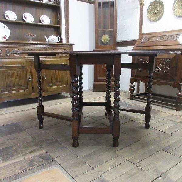 イギリス アンティーク 家具 ダイニングテーブル バタフライ ゲートレッグテーブル ツイストレッグ 木製 オーク 英国 TABLE 6773b_画像4